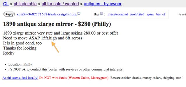 Philadelphia craigslist... antique mirror salvage.