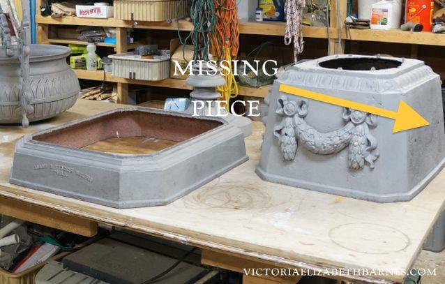 DIY antique cast-iron garden urn restoration... Sandblasting and powder coating and repair 2