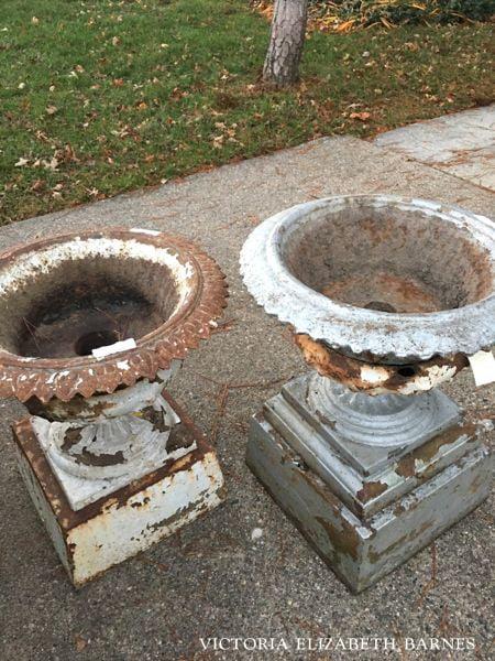 Antique Cast Iron Garden Urn Decorated
