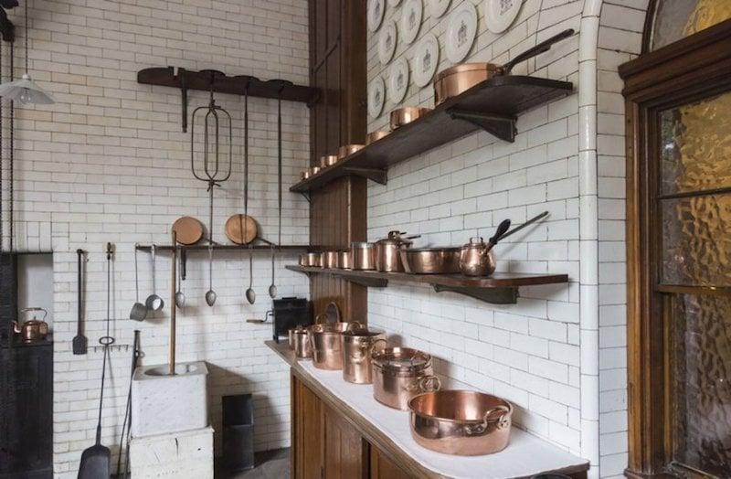 Victorian Kitchen Coper Pans Open Shelf Subway Tile