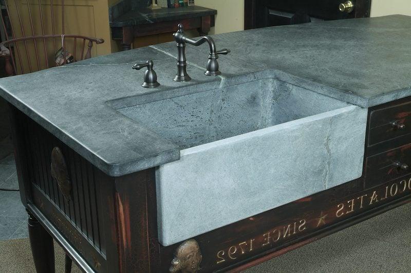 custom soapstone carved kitchen sink - Victoria Elizabeth Barnes